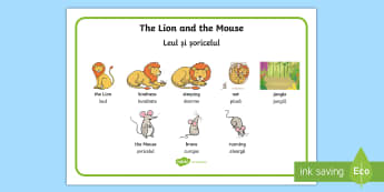 The Lion and the Mouse Word Mat English/Romanian - The Lion And The Mouse Word Mat - Lion, Mouse, Word, Mat, Animal, EAL
