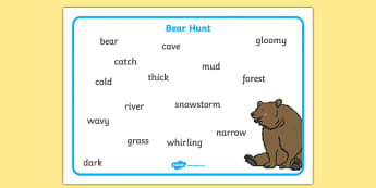 We're Going On A Bear Hunt Word Mat (Text) - Bear Hunt, Michael Rosen, resources, swishy swashy, Bear Hunt, Bear Hunt Story, splash splosh, thick oozy, deep dark cave, family, journey, story, story book, story book resources, story s