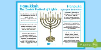 Hanukkah Large Information Display Poster English/French  -  hanukkah, poster, ks2 hanukkah,chanukka, Jewish Festival of Lights, Hanouka, Kislev