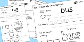 CVC Writing Word Activity Sheet Pack 'u' with British Sign Language, worksheet