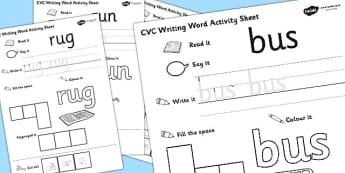 CVC Writing Word Worksheet / Activity Sheet Pack 'u' with British Sign Language, worksheet