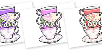 Next 200 Common Words on Teacups - Next 200 Common Words on  - DfES Letters and Sounds, Letters and Sounds, Letters and sounds words, Common words, 200 common words
