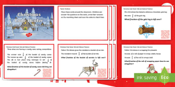 LKS2 Add and Subtract Fractions Christmas QR Challenge Cards - Y3, Year 3, Y4, Year 4, Word Problems, Quiz, reasoning, mastery
