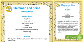 Shimmer and Shine Playdough Recipe