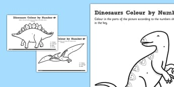 Dinosaurs Colour by Number Dots - dinosaurs, colour, dots, colour by dots, numbers, activity, numeracy