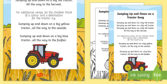 Jumping Up and Down on a Tractor Song - Transport and Travel, tractor, nursery rhyme, big red tractor