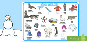 Winter Word Mat English/Italian - Winter Word Mat - Winter, word mat, writing aid, topic words, skis, ice skates, polar bear, whale, p