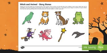 Witch and Animals Story Stone Image Cut Outs - room on the broom, story stone
