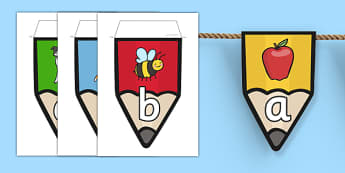 Alphabet Pencil Bunting with Pictures - alphabet, pencil, bunting