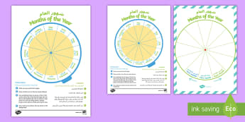 Months of the Year Sequencing Wheel English/Arabic - EAL Calendar Sequencing, months, year, cycle, sequence, order, date,Arabic-translation