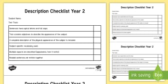 Year 2 Description Checklist - English curriculum, Writing, assessment, Factual writing, Australian Curriculum,