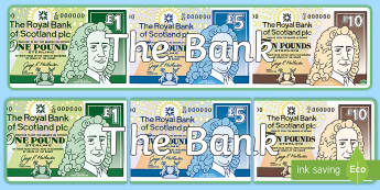 Bank Role Play Display Banner  - Bank Role Play Display Banner - Bank Role Play, banking, bank resources, money, euros, pounds, chequ
