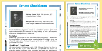 Ernest Shackleton: Significant Individuals Fact File - KS2, significant individuals, history, Ernest Shackleton, explorers, South Pole, Antarctica