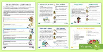 60-Second Reads: Healthy Living Activity Cards - 90 Words A Minute, Ninety Words, Reading, Guidance, Year 2, Y2, One Minute Reading
