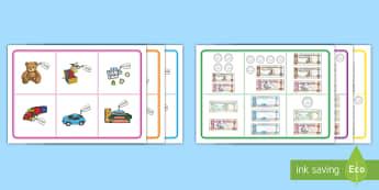 Toy Shop to 100AED Bingo - UAE Maths Resources, toy, shop