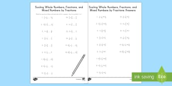Scaling with Whole Numbers, Fractions, and Mixed Numbers by Fractions Activity Sheet - whole numbers, fractions, mixed numbers, scaling, multiplication, comparisons, worksheet