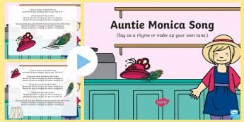 Auntie Monica  Song PowerPoint - clothing, wearing, dressed, singing, song time