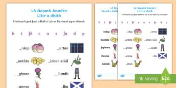 Là Naomh Anndra - Litir a Dhìth - Duilleag Gnìomh - cfe, A' chiad Ire, gaelic, Là Naomh Anndra, Litir a dhith, duilleagan obrach,Scottish