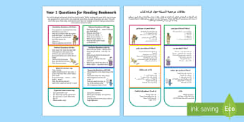 Questions for Reading Bookmark Question Cards Arabic/English - Y1, comprehension, understanding, reading dogs, parents, questioning, EAL