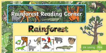Reading Corner Rainforest Themed Display Pack - reading area, book area, book corner, books, reading, library, reading corner, rainforest, forest, j