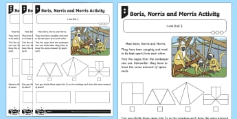 Find 1/3 of a Shape or Quantity Differentiated Worksheet / Activity Sheets - Fractions, third, 1/3, share, divide, monkey, zoo