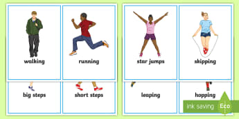 PE activity Word Cards - re-design, movement, exercise, body, action, shapes, prompt