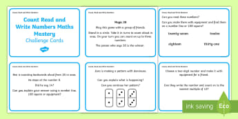 Year 1 Count Read and Write Numbers Maths Mastery Challenge Cards - reason, represent, explain, game, ten frame, numicon, mastery, fluency, reasoning, problem solving,