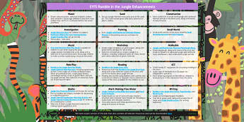 EYFS Enhancement Ideas to Support Teaching on Rumble in the Jungle - jungle, enhancement, planning