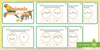 Jungle Themed Addition Sentences Activity Sheets  - winter, penguins, addition, counting, number sentences, addition sentences,