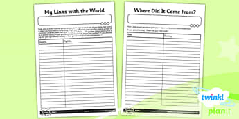 Geography: All Around the World Year 4 Unit Home Learning Tasks