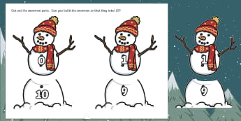 Ten Little Lights Number Bonds to 10 Cut-Outs  - Twinkl Originals, Fiction, Christmas, Winter, Snow, Cold, KS1, Maths, Addition