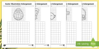 Easter Illustration Enlargement Worksheet / Activity Sheet - Australia Easter Maths, Easter, Australia, mathematics, year 5, enlarge, enlargement, grid enlargeme