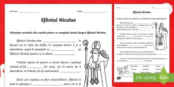 Sfântul Nicolae Fișă completează textul - sfântul Nicolae, clasa I, clasa a II-a, comunicare în limba română, sărbătoare, moș Nicolae,