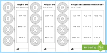 Noughts and Crosses Division Game Activity - Division, game, tic tac toe, tic-tac-toe, divide, 4-digit, 4 digit, four digit, numbers, decimal pla