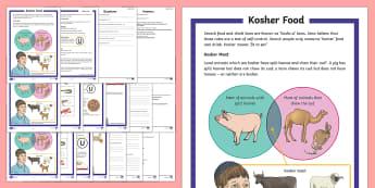 Kosher Food Differentiated Reading Comprehension Activity - kosher, food, drink Judaism, Jewish, Jew, Kashrut laws, trefah, shochet, meat, dairy, animal treatme