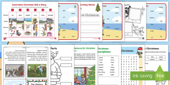 Christmas in Australia Resource Pack - Christmas around the world, reading, writing, end of year, guided reading, december, celebration, ac