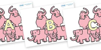 A-Z Alphabet on Five Elephants - A-Z, A4, display, Alphabet frieze, Display letters, Letter posters, A-Z letters, Alphabet flashcards