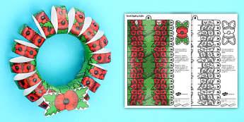 Torch Pabi Dydd y Cofio 3D Taflen Weithgaredd - Dydd Y Cofio, Remembrance Day, Poppy, Pabi,Cofio, torch, wreath, Remember,Welsh
