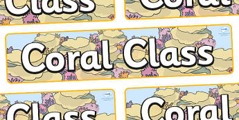 Coral Themed Classroom Display Banner - Themed banner, banner, display banner, Classroom labels, Area labels, Poster, Display, Areas