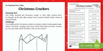 Christmas Crackers Activity Sheet - Amazing Fact Of The Day, activity sheets, powerpoint, starter, morning activity, December, Christmas