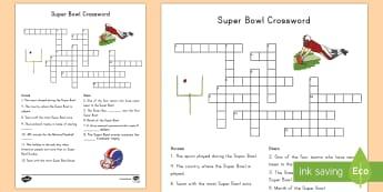 Super Bowl Crossword - Super Bowl 2017, Super Bowl, Crossword, KS1, Kindergarten, First Grade, Second Grade, United States,