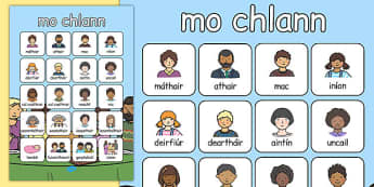 mo chlann Vocabulary Poster Gaeilge - gaeilge, my family, vocabulary poster, vocabulary, poster, display