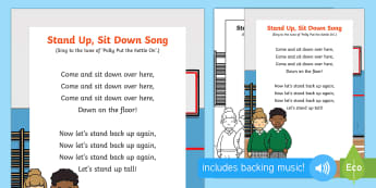Stand Up, Sit Down Song - up, down, stand, sit, early concepts, opposites