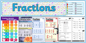 Fractions Display Pack LKS2 - fractions, display pack, lks2