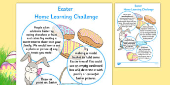 Easter Home Learning Challenge Sheet Nursery FS1 - EYFS planning, early years activities, homework, festival