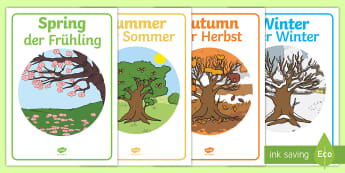 Four Seasons Display Posters English/German - Four Seasons Display Posters - Seasons, season, autumn, winter, spring, summer, fall, seasons activi