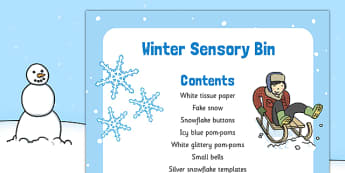 Winter Themed Sensory Bin - winter, sensory bin, eyfs, sensory, bin, early years