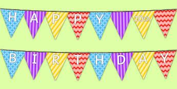 Happy 10th Birthday Bunting - 10 birthday party, 10th birthday, birthday party, happy birthday, bunting