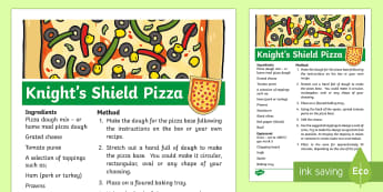 Knight's Shield Pizza Recipe - dragon, baking, cookery, food,