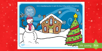 Phase 2 Tricky Words Christmas Scene Magnifying Glass Activity Sheet - phase two, tricky words, phase 2, phase, christmas, scene, magnifying glass, activity